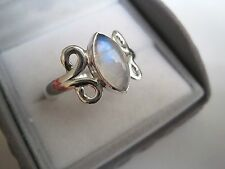 Solid 925 Sterling Silver Round Moonstone Ring, Size T. White/Blue.Silver Detail