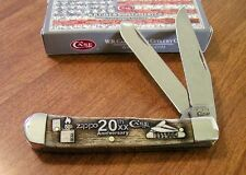 CASE XX New Smooth Bone Handle 20th Anniversary Zippo 2 Bld Trapper Knife/Knives
