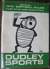 """1972 """"Official Softball Rules"""" """"Fast Pitch and Slow Pitch"""" by Dudley Sports"""