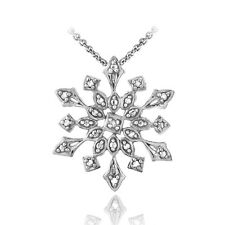 """925 Silver Diamond Accented Snowflake Necklace, 18"""""""