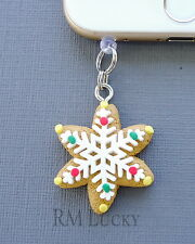 Christmas Snowflake cell phone Charm AntiDust proof Plug ear cap cover jack C123