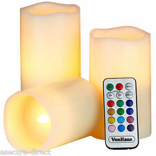 VonHaus Set of 3 Real Wax Flameless LED Colour Changing Candles with Timer