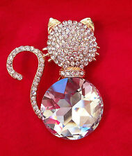 Cat Cat Art Jewelry Swarovski Crystal Broach Brooch Pin #Cat Cat Cat #Cat USA