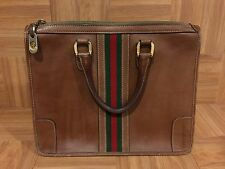 RARE❤ GUCCI Vintage Tobacco Leather Satchel Hand Bag Red Green Web