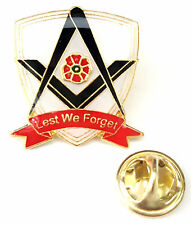 Masonic Lest We Forget Remembrance Poppy Lapel Pin Badge Exclusive Badge