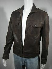 NWT Kenneth Cole NY Distressed Rugged Washed Leather Moto Jacket Brown size S