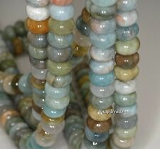 9X6MM BERYL AQUAMARINE GEMSTONE BLUE RONDELLE 9X6MM-8X4MM LOOSE BEADS 7.5""