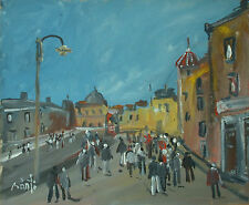 Jozsef BANFI (Ricse 1936 - ) Street with lantern - Hungarian city