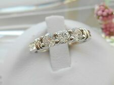 QVC  Diamonique 3 Stone Band Ring in Epiphany Size 5