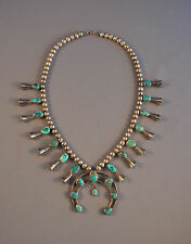 """VINTAGE NAVAJO INDIAN SQUASH BLOSSOM SILVER NECKLACE - BEAUTIFUL TURQUOISE - 22"""""""