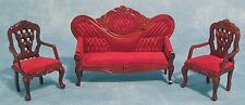 "DOLLS HOUSE 1/12 SCALE ""MIRROR BACK"" SOFA AND CHAIR SET IN MAHOGANY"