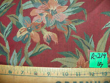 Burgundy Green Flower Print Nylon Upholstery Fabric  1 Yard  R214