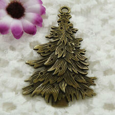 Free Ship 6 pieces bronze plated Christmas tree pendant 68x44mm  #063