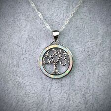 White Fire Opal Tree Of Life Silver Plated Pendant Necklace