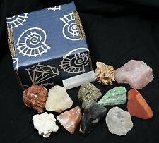 BOX 12 RAW GEMSTONES CRYSTAL HEALING ROCK SET SPECIMENS