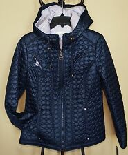 LAUNDRY By Shelli Segal Navy Hooded Quilt Puffer Jacket Coat Sz.S NWT WOW! $160