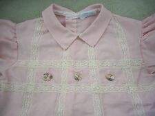 Vintage Nannette Pink Baby Girl dress size 6-9 mo. with Lace and Rosebuds