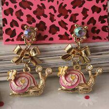 NEW Betsey Johnson Women Drip Cartoon Snails Crystal Gem Alloy Earrings BJEA039