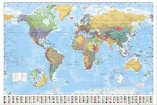 WORLD MAP WITH FLAGS BANNERS CHART POSTER PRINT NEW 36X24 FAST FREE SHIPPING