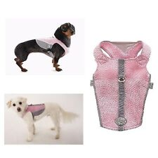 REFLECTIVE BREATHABLE MESH HARNESS for DOGS - Pink & Gray xxSmall - CLOSEOUT !