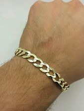 "14k Solid Yellow Gold High Polish Cuban Curb Link Chain Bracelet 8.5"" 10mm"