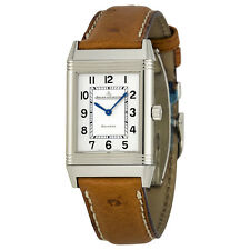 Jaeger LeCoultre Reverso Silver Dial Ostrich Strap Unisex Watch Q2518411