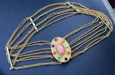 CHRISTIAN DIOR Goldtone Multiple Chains Belt Jeweled Buckle w Colorful Cabochon