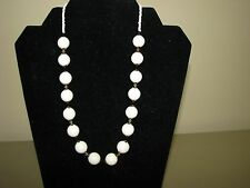New Handmade necklace beaded crystals & genuine white coral round beads