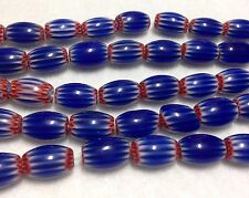 Cobalt 6-Layer Oval Chevron Glass Beads, 8mm x 12mm, Strand of Approx. 33 Beads