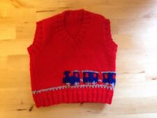 New Hand Knitted Boys Red Tank Top With Blue Train Size 18-24 Months