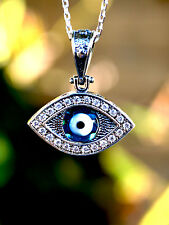 Celebrity Inspired Sterling Silver Evil Eye Necklace