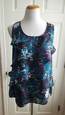 Women's Size L Teal Purple Print Silky Tier Shell Top Cami Tank Blouse