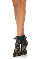 80s Fancy Dress Black Lace Ruffled Ankle Socks