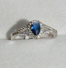 Dolly-Bijoux Bague Rhodié T58 Saphir et Pavage Diamant Cz Argent Massif 925