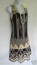 1920's style Gatsby Charleston look vintage taille robe sequins tambour 10/12