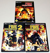 3 PC SPIELE BUNDLE - FIRE DEPARTMENT 1 2 3 - FEUERWEHR SIMULATION SIMULATOR