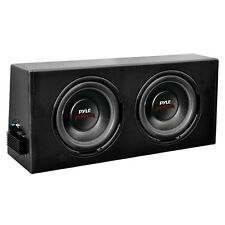 "Pyle Car Audio PLPR210A New 10"" Dual Amplified Sub Woofer Slim Enclosure System"