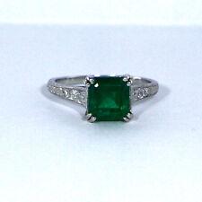 Edler Art Deco Damenring (Platin) mit Smaragd und Diamantbesatz