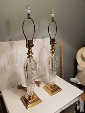 "WATERFORD GLENCAR CRYSTAL - 2  CRYSTAL LAMPS, 32"" TALL WITH FINIALS SIGNED"