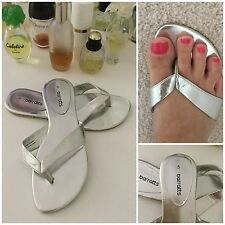 ((*_~)) Ladies Silver Flip Flops ��  Silver Flat Shoes Size 6 Barratts