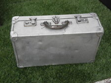 antique Suitcase aluminum Luggage travel metal retro ANTIQUE art deco vintage