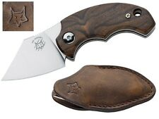 FOX ITALY DRAGONTEC PIEMONTES POCKET FOLDING KNIFE SATIN / WOOD / LEATHER SHEATH