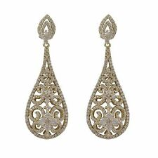 Gold Plated Sterling Silver Filigree Teardrop Womens Bridal Dangle Earrings