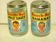 2 Vintage Beech-Nut Baby Food Jars Banana s Apple Sauce 1950s paper Label