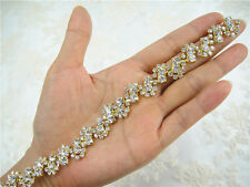Gorgeous Diamante Crystal Bridal Applique Gold Beaded Motif Wedding Applique
