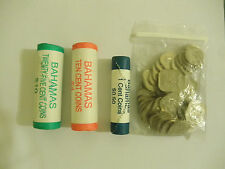 Bahamas Coin Rolls, 25 Cent 10 Cent Penny Uncirculated+ Pack 15 Cent Circuculate