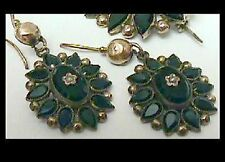Victorian 19th Cen Pin & Earrings set Rolled Gold 14k set w/ a tiny seed pearl