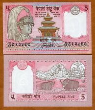 Nepal, 5 Rupees, ND (1987-), P-30 (30a), Sign. 13 UNC   King Birendra, Yak