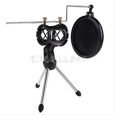 Recording Studio Microphone Mount Stand + Mic Windscreen Pop Filter Mask Shield