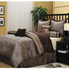 Brown Queen Size Embroidered Comforter Set w/ Bed Skirt Shams Decorative Pillows